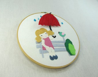 Wall/Shelf Décor - Girl with Umbrella
