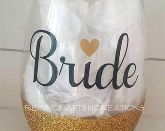 Bride wine glass, Bridal glassware, Wedding glass, Bride glitter dipped wine glass, Wedding shower drinkware, Bride wine lover