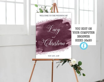 Burgundy Plum Watercolor Wedding Welcome Sign Printable Template, Wedding Welcome Sign, Printable, Editable, Instant Download, Watercolor