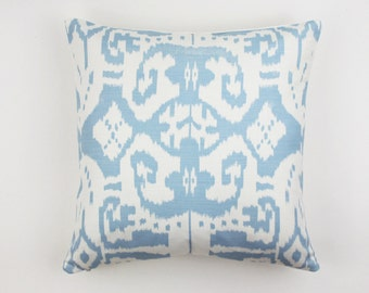 Custom Pillows in Quadrille China Seas Island Ikat (Shown in Zibby Blue - comes in many colors)