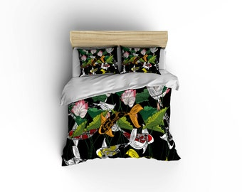 Japanese duvet cover etsy for Koi home decor