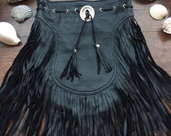 Black boho fringe bag