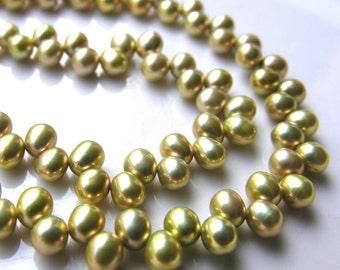 Citron Green Dancing Freshwater Pearl Beads FULL STRAND