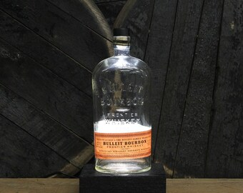 Bulleit Bourbon Bottle LED Light / Bourbon Lover Gift/ LED Desk Lamp / Whiskey Lover Gift / Upcycled Bourbon Bottle Lighting