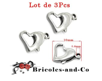 Silver tone heart lobster clasp, small size 10mm.  Set of 3Pcs