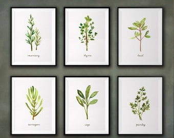 Herb Watercolor Painting, Kitchen Art, Herb Print Set Of 6, Wall Decor,