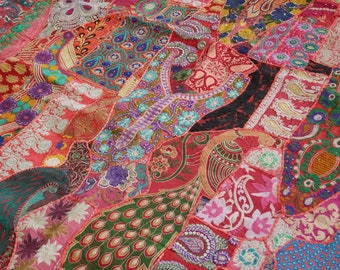 """Bohemian bedding """"Boho Love"""" bedspread, Indian bedding patchwork tapestry, boho patchwork quilt bohemian home decor gypsy throw king"""