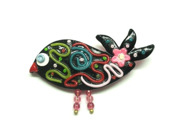 Jewelry Brooch Bird polymer clay stamped multicolored on black WOMEN ACCESSORIES handmade jewelry by artefyk