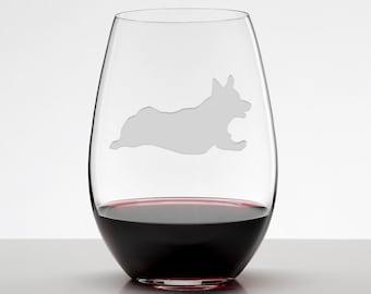 Running Corgi, Welsh Corgi Wine Glass, Etched Stemless Wineglass