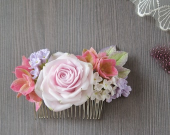 Pink rose hair comb Floral hair comb Hydrangea hair comb Floral hair piece Bridal hair flower Wedding hair clip Pastel Dusty blush pink