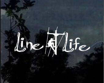 Line Life Lineman Car Window Decal Sticker
