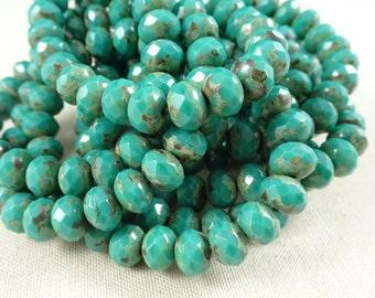 Czech Beads, 7x5mm Rondelle, Czech Glass Beads - Dark Turquoise Green Picasso (R7/RJ-2019) - Qty. 25