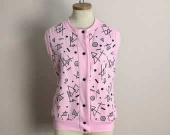 80s Mathlete Vest- 1980s Vintage New Wave Sweatshirt in Pink & Gray Geometry Print- Sweater Vest- Nerdy Geek Punk Pastel Preppy