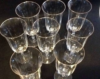 8 Crystal Wine Glasses-Gold Rim -Wedding Gift | Heirloom Quality
