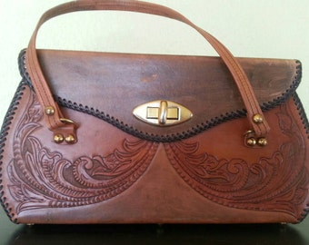 Large Tooled Leather Stamped Hippie Bohemian 60s 70s Purse/handbag
