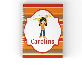Thanks Personalized Notebook - Give Thanks Boy Girl Fall Stripes with Name, Customized Spiral Notebook Back to School