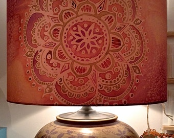 Unique handmade nature inspired art pieces by carinathumbelina indian mandala peachpurple hand silk painted lamp shade large 40cm drum aloadofball Choice Image