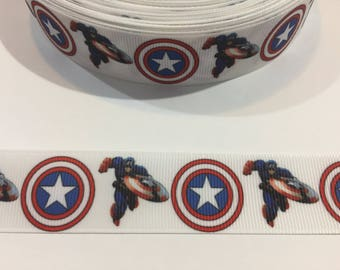 3 Yards of Ribbon 1 inch Wide - Captain America and Shield
