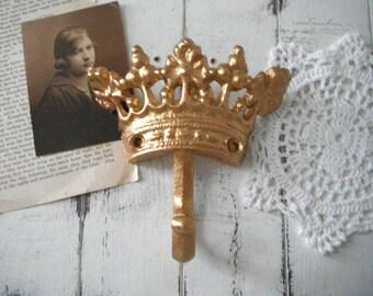 crochet métallique d'or mur crochet cottage chic pépinière crochet Couronne crochet chambre décor or Français pays tiara crochet Appartement à paris