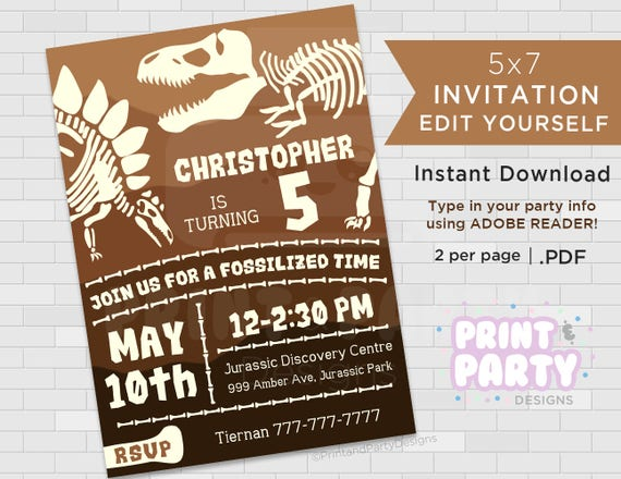 Printable boys dinosaur fossil birthday party te gusta este artculo solutioingenieria Gallery