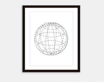 Circle Print - Sphere Print - Globe Art Print - Minimalist Art - Modern Decor - Geometric Art - Geometric Shape Poster