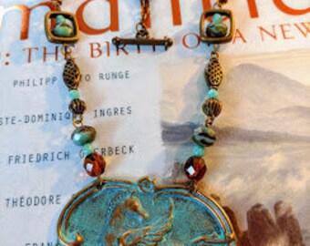 Pegasus, patina, turquiouse and topaz beaded necklace