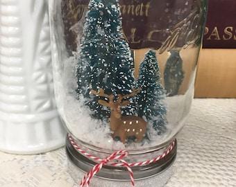 Mason Jar Snowglobe with Reindeer