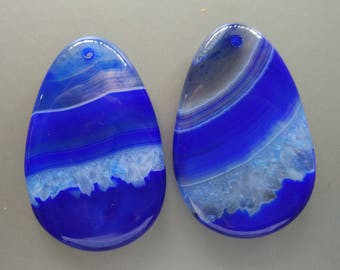 As Pictured- 2pcs -Large Royal Blue Teardrop agate Pendant 35x55mm- #1025013