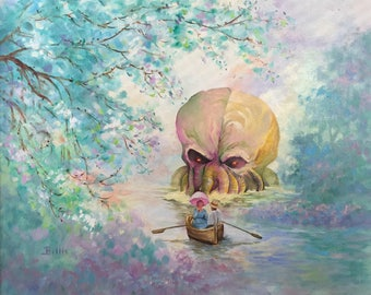 HP Lovecraft Cthulhu Parody Painting, 'Lovecraft Lane' - Altered Painting - Print Poster Canvas - Funny Cthulu Lovecraft Horror Novel Fan