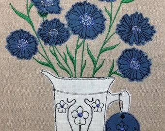 Raw Edge Applique Design 'Cornflowers'