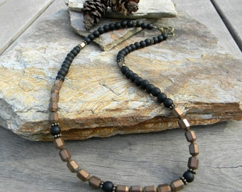 Mens beaded necklace mens jewelry unique gift for him beaded jewelry necklace for man guys necklace husband gift minimal necklace for men