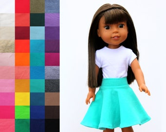 Fits like Wellie Wishers Doll Clothes - Skater Skirt, You Choose Color | 14.5 Inch Doll Clothes