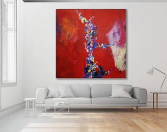 XL Colorful Abstract Painting / Modern Art / Contemporary Art / Large Red Painting / XL Abstract Art / Colorful Art / Original Art