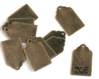 Antique Bronze Stamping Tag Blank. 12x21mm. Stamping tag, scalloped top. For hand-stamped jewelry, initial charms. Blank tag. QTY 5+ (2-15a)