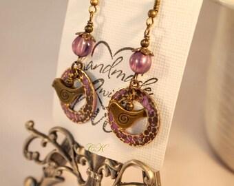 Layered Patina Bird Earrings  Gypsy Earrings Layered Embossed Earrings Bohemian Jewelry Purple Earrings Dangle Pierced or Clip-on Earrings