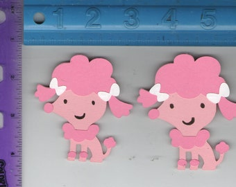 Pink Poodles- Paper piecing/die cut for Scrapbooks or Greeting Cards -