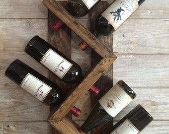 Wine rack-wall mounted wine rack-rustic vintage wine rack