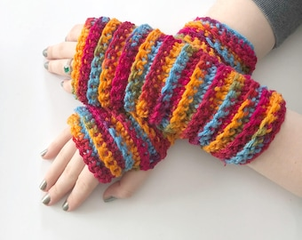 Wrist Warmers, Arm Gloves, Fingerless Gloves, Crochet Fingerless Bright Colors