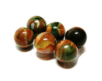 "Fancy jasper beads, round jasper cabs, 7 mm loose beads, orange brown green, jewelry making, jewelry supplies, ""Green pea soup"""
