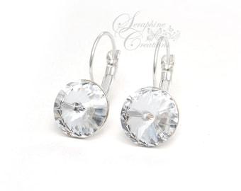 Bridesmaid Crystal Earrings Bridal Earrings White Swarovski Rivoli Crystals Sparkly Clear Wedding Jewelry Bridesmaid Gifts Leverback K011