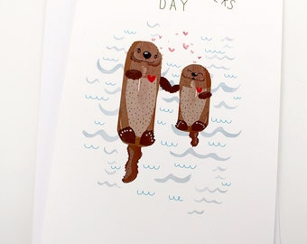 Happy M'Otters Day Card, by Spaghetti Toes, Greeting Card with Envelope