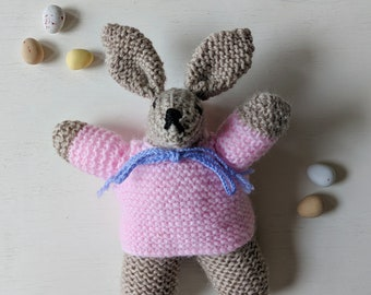 Rabbit | Bunny | Easter | Hand Knitted | Vintage Pattern | Vintage Knitting | Cuddly Toy | Plushie | Stuffed Animal | Gift |