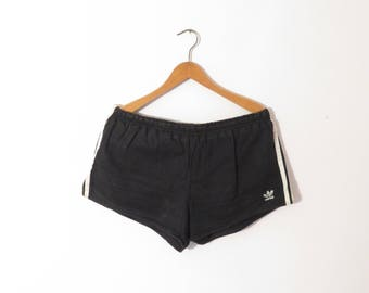 ADIDAS ORIGINALS Vintage Black Shorts with White Stripes, sz. 7