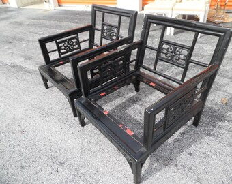 ORIENT EXPRESS / Solid Wood Carved Asian Lounge Chairs / Greek Key Border Detailing / Usable Upholstery