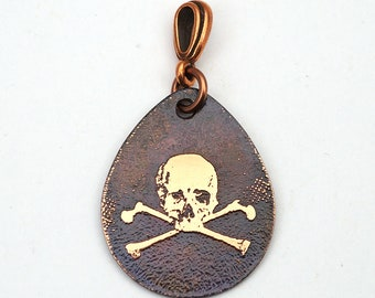 Copper skull and crossbones pendant, flat etched copper teardrop, pirate jewelry, 29mm