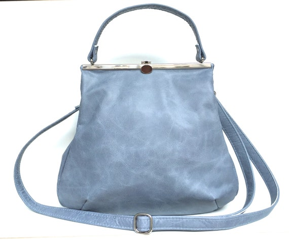 leather bag blue,handbag blue leather, small leather bag,blue leather shopper