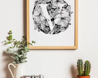 Floral V Monogram 8x10 downloadable print
