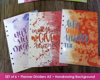 Planner Dividers, Refill Agenda A5, Inspirational Quotes, Motivational Dividers, Planner Tab, Printed Marker, Dividers A5 Size, Ring Planner