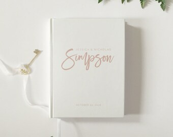 Blush Wedding Guest Book Modern Wedding Guestbook Custom Wedding Guest Book - Personalized Wedding Guestbook - Wedding Keepsake