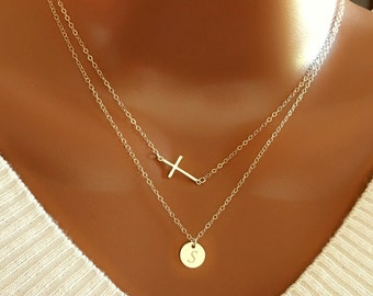 Layered necklace with Sterling silver cross and disc charm, dainty necklace, personalized necklace, simple everyday,gift for mom, for her